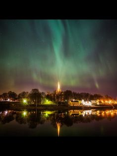 On Tuesday, Aurora was very active over Trondheim and the internet flooded with beautiful pictures of the dancing green lights over the city. Northern Lights Norway, Tromso, Trondheim, Aurora Borealis, The Good Place, Beautiful Pictures, Sky, Places, Travel