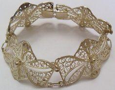 Sterling Silver Wide Link Filigree Bracelet 15 Grams by onetime, $21.25