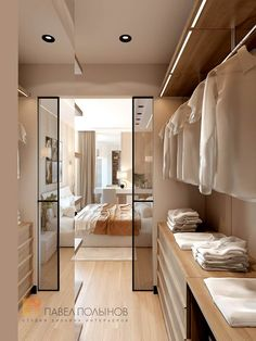 """Photo design of the wardrobe room from the project """"Design project of a - Kleiderschrank Bedroom Closet Doors, Wardrobe Room, Bedroom Closet Design, Home Room Design, House Design, Master Closet, Door Design, Master Suite, Walk In Closet Design"""