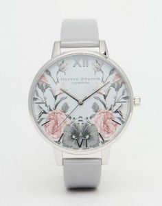 Olivia Burton Enchanted Garden Gray Patent Big Dial Watch - Yumm Yes