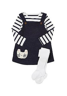 Tesco direct: F&F Knitted Pinafore with Striped Bodysuit and Tights Toddler Outfits, Girl Outfits, Cute Outfits, Cute Baby Clothes, Clothes For Women, Baby Tights, Striped Bodysuit, Tights Outfit, Winter Outfits