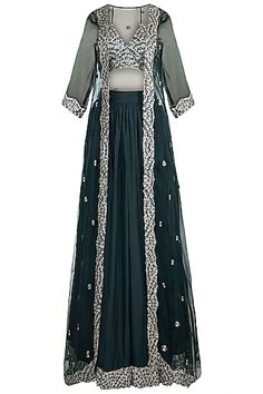 Green Embroidered Lehenga Set With Jacket Design by Pleats by Kaksha & Dimple at Pernia's Pop Up Shop Green Lehenga, Lehenga Skirt, Indian Lehenga, Samant Chauhan, Pernia Pop Up Shop, Indian Ethnic Wear, Dimples, Designer Wear, Blouse Designs