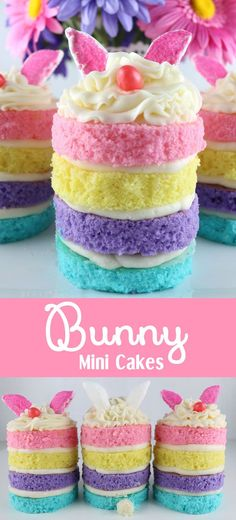 Bunny Mini Cakes - a unique take on a traditional Easter Cupcake.  Wow your Easter Brunch guests with these adorable and delicious Easter Treats.  Follow us for more fun Easter Food Ideas.