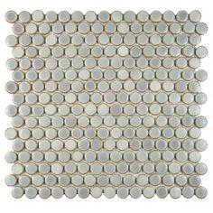 "EliteTile Penny 3/4"" x 3/4"" Porcelain Mosaic Floor & Wall Tile in Glossy Gray & Reviews   Wayfair"