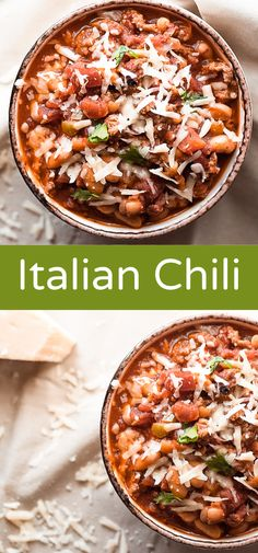 This Italian Chili is a spin on classic chili, with hot Italian sausage and traditional Italian flavors like oregano and basil. Plus, my two secret ingredients to add extra flavor. This is a recipe yo Chilli Recipes, Beef Recipes, Soup Recipes, Cooking Recipes, Savoury Recipes, Dinner Recipes, Sausage Chili, Hot Sausage, Chili Recipe With Italian Sausage