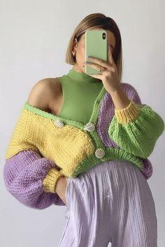 Crochet Clothes, Diy Clothes, Crochet Outfits, Colourful Outfits, Cool Outfits, Look Fashion, Fashion Outfits, Luxury Fashion, Mode Crochet
