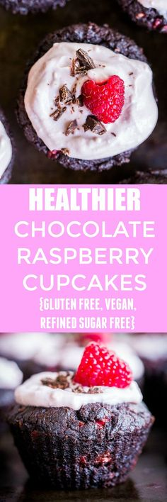 These Healthier Chocolate Cupcakes with Raspberries are made with healthier ingredients and packed with beets and raspberries! They're perfect for Valentine's Day or just a fun baking project! They're also gluten free, vegan and refined sugar free! Delicious Vegan Recipes, Healthy Dessert Recipes, Cupcake Recipes, Delicious Desserts, Vegetarian Desserts, Delicious Cupcakes, Cupcake Ideas, Dessert Ideas, Tart Recipes
