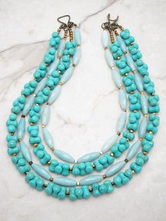 Turquoise Necklace.Statement Necklace.Turquoise Jewelry.Statement Jewelry.Multi Strand Necklace.Bold Necklace.Chunky Necklace. HANG TEN
