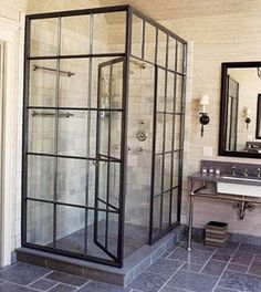 """Factory window shower"" people think a lot of cool stuff. House Design, House, Interior, Home, House Styles, Factory Window Shower, Bathrooms Remodel, Bathroom Decor, Bathroom Inspiration"