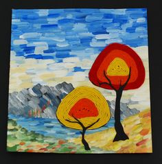 I LOVE this mixed media use of yarn painting.that artist woman: Yarn Painted Trees School Art Projects, Fall Projects, 6th Grade Art, Grade 3, Yarn Painting, Painting Art, Atelier D Art, Art Lessons Elementary, Autumn Art