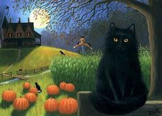 Pumpkin Moon, Black Cat Art, Black Cats, Pop Art Artists, Cat Tattoo, Halloween Cat, Halloween Decorations, Painting, Art Prints