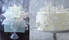 snowflake wedding cake by CakeHeart left, Southern Living right