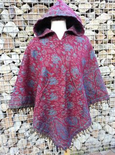 Wool Poncho Reversible with Fringes High Collar Maroon by Coisas4u