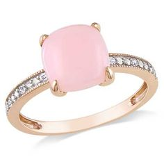 8.0mm+Cushion-Cut+Pink+Opal+and+Diamond+Accent+Ring+in+10K+Rose+Gold