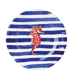 Vietri Maremisto Seahorse Stripe Charger or Wall Plate