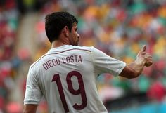 Spain's forward Diego Costa gestures during a Group B football match between Spain and the Netherlands at the Fonte Nova Arena in Salvador during the 2014 FIFA World Cup on June 13, 2014.