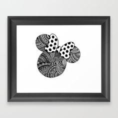 Minnie Mouse, zentangle, mandala, black and white, art, taytangle