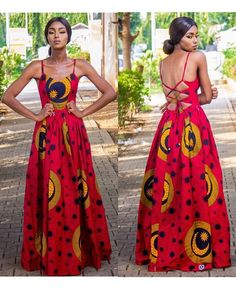 Restocked our must have fav backless maxi dress (Red) Source by diamonddashae dress modern African Fashion Ankara, African Dresses For Women, African Print Dresses, African Print Fashion, Africa Fashion, African Attire, African Women, African Print Clothing, Fashion Fashion
