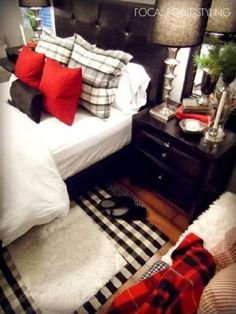 Black White and Red guest bedroom.  Add mirrors, bench or 2 stools, curtains from bed tester, lamps