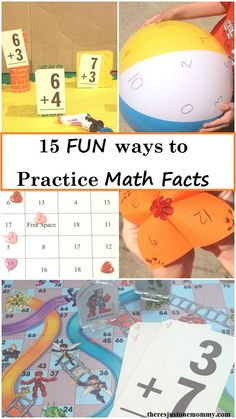 fun ways to practice math facts -- 15 ways to make practicing math facts more fun (math fact game,addition math facts,subtraction math facts,multiplication math facts, division math facts) - for Bella Fun Math Games, Math Activities, Fluency Games, Maths Resources, Calculus, Algebra, Online Math Courses, Math Fact Practice, Math Night
