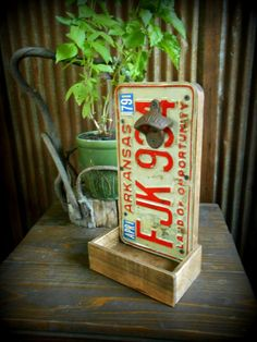 $35 Rustic Soda Bottle Opener with Cap Catcher. Can be wall mounted or standing. Ships with mounting hardware. Finished in a semi-gloss finish.    14