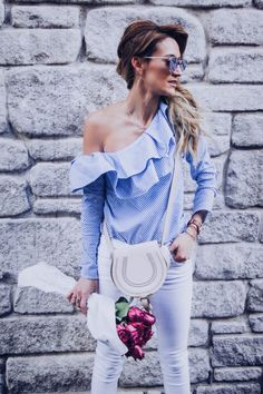 quay all my love sunnies and one shoulder ruffled blouse