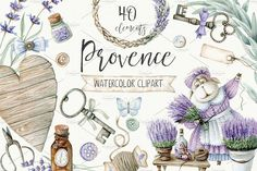 PROVENCE This set of 40 high quality hand painted watercolor elements: Provence watercolor clipart. Perfect graphic for wedding invitations, greeting cards, photos, posters, quotes and more. CAN BE USED FOR: printed paper stationery (tags, wrapping paper, packaging, invitations, cards, labels); digital or scrapbooking paper; home decor (pillows,