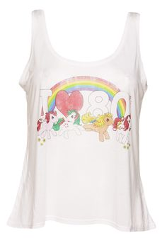 Official Ladies My Little Pony I Heart The 80s Curved Hem Cropped Swing Vest | eBay