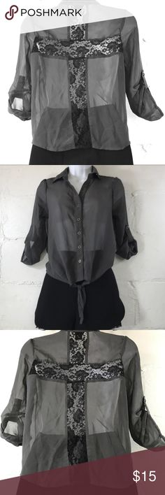 """Wetseal Gray Top Wetseal Button-Tie Front See-Through Collared Blouse has Black Lace Cross Detail on Back, and 3/4"""" Adjustable Button Sleeves.  Size (XS)  Measurements are Approximate; Bust: 18"""" P2P Length: 21"""" Sleeves: 18""""  Fabric; 100% Polyester   Hand Wash & Hang Dry  *** Look For The Kimichi Blue for Uban Outfitters Shorts for sale If still Available in Another Listing in my Closet!*** Wet Seal Tops"""