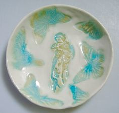 Ring Dish Holder Butterfly bowl Japanese Geisha girl by Clayshapes