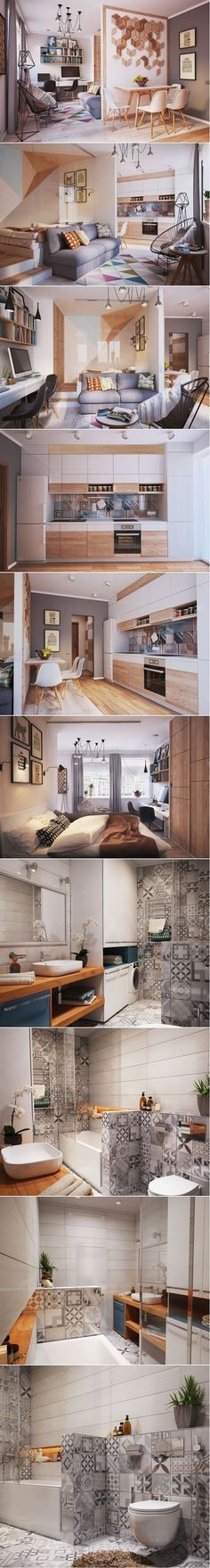 Studio apartment design ideas 500 square feet new living small with style 2 beautiful small apartment plans under Small Apartment Plans, Modern Apartment Decor, Studio Apartment Design, Small Apartment Interior, Apartment Ideas, Apartment Plants, Colorful Apartment, Studio Design, Apartment Entrance