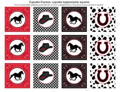 INSTANT DOWNLOAD diy Cowboy Printable Party Circles 2in Cupcake Toppers red black bandana gingham boots