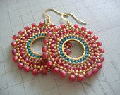 Seed Bead Hoop Earrings Aqua Berries Multicolored by WorkofHeart