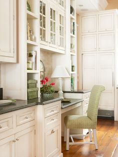 lovely desk area in a cream painted kitchen