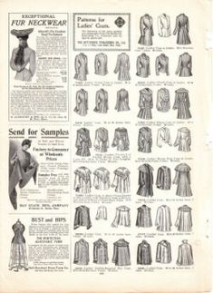 These amazing antique catalog pages have tons of beautiful vintage black and white illustrations of Victorian clothing and underwear, as well...