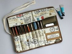 Artist Roll Up Pencil Case, Plein Air Kit, Personalization Journal Pouch Art Supply Case Travel Kit, Watercolor Paintbrush Case Paris Cotton Roll Up Pencil Case, Best Purses, Quilt Material, Frame Bag, Purple Bags, Travel Kits, Bag Organization, Small Crossbody Bag, Knitting Needles
