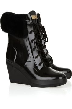 Hunter shearling-trimmed wedge heel weatherproof boots. It's like the perfect boot baby. For $240.