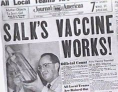 On this day in 1953 - Dr Jonas Salk announces vaccine to prevent polio. I am a proud member of the round scar generation. Newspaper Headlines, Old Newspaper, Newspaper Article, Jonas Salk, Photo Vintage, Medical History, Interesting History, Interesting Facts, Thats The Way