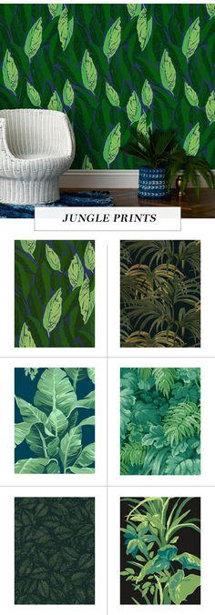 leaf print wallpaper roundup on coco kelley | jungle leaf prints