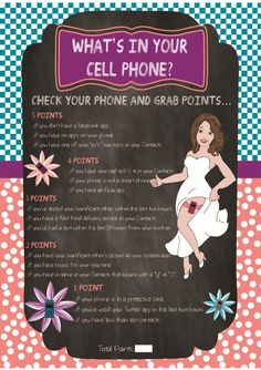 """Bridal Shower Game """"What's in your Cell Phone""""....but since this is about rick and tish the cell phone stuff also about them"""