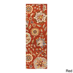 Hand-tufted Lily Pad Floral Runner Wool Area Rug (2' x 8' ) (Red), Size 2' x 8'