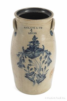 N. Clark & Co., Lyons NY crock. Visit any home of someone who grew up in Lyons and you will see one or two Lyons crocks... They are beautiful!