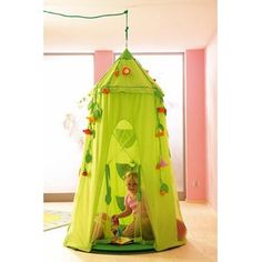 Vintage Haba Blossom Sky Room Tent Features Haba hanging tent hangs from a ceiling beam Thick foam pad for fy seating Has u uhook and loop u u fasteners