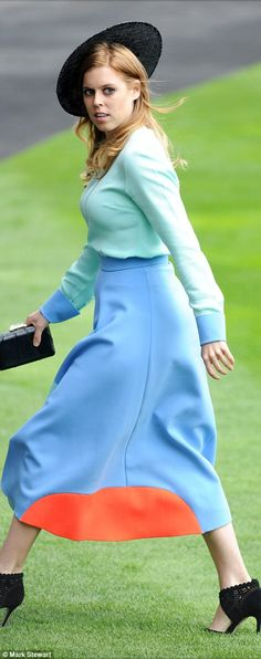 dailymail:  Royal Ascot 2015, Day 1, June 16, 2015-Princess Beatrice  in a mint green and periwinkle blue ensemble with color-blocked skirt and Nereida Fraiman hat