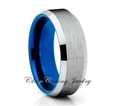 Blue Shiny Edges Blue Tungsten Ring Comfort Fit 8mm