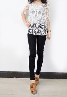 Punk Style Skull Embroidered Lace Tee