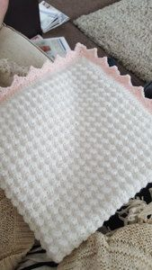 Crochet baby blanket crochet project by Elizabeth B - Marilyn Stewart - Dantel ModelleriFree pattern off Red Heart called sweet dreams.White and pink baby blanket.Upload your finished crochet projects, keep track of current projects and seek support from Crotchet Blanket, Crochet Baby Blanket Beginner, Baby Girl Crochet Blanket, Crochet Blanket Patterns, Baby Knitting Patterns, Crochet Shawl, Crocheted Baby Blankets, Crochet Baby Blanket Borders, Afghan Girl