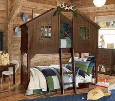 Tree House Twin-over-Twin Bunk Bed #pbkids
