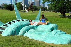 NYC. A life-size statue of liberty face, at Governor's Island | Feather By Feather
