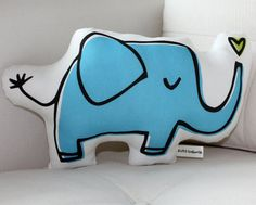 Blue Elephant Pillow